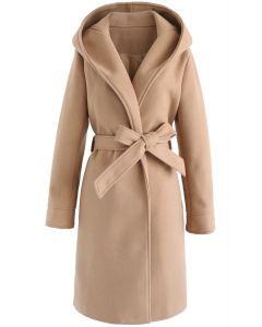 Manteau long à capuche beige