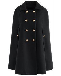 Keep It Elegant Manteau de cape à double boutonnage en noir