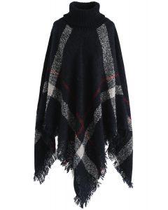 Cape en tricot Shaggy à rayures incroyablement charmantes en marine