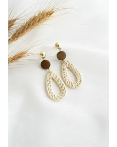 Teardrop Rattan Straw Earrings