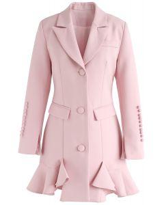 Robe Classique Vogue Peplum en rose