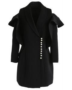 Shining Pearls - Robe manteau à épaules dénudées et col en V - Noir