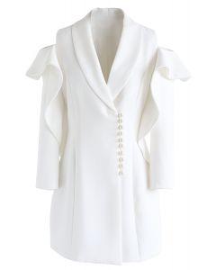 Shining Pearls - Robe manteau à épaules dénudées et col V en blanc