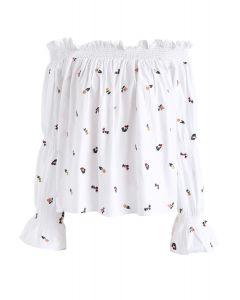 Dolce Floret - Top à manches bulles et épaules dégagées en blanc