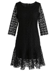 Flowering Glee Crochet Dress in Black