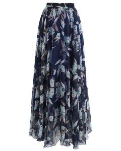 Jupe longue en mousseline de soie fleurie bleu marine