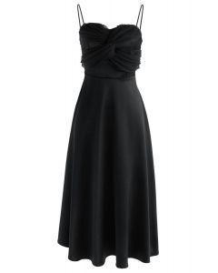 Silkiness Sweetheart Cami Dress en Noir