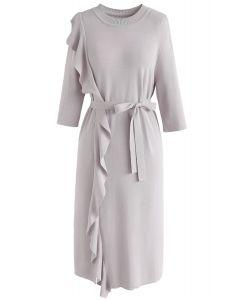 Rehaussez votre robe droite en tricot Elegance en gris