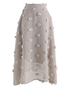 Jupe à fleurs en coton transparent 3D Candy Candy taupe