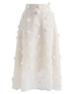 Barbe à papa pure jupe fleur 3D en crème