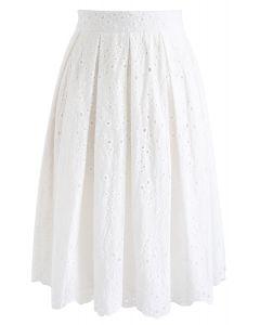 Jupe plissée Eyelet Beauty en blanc
