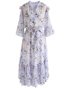 By My Side - Robe en mousseline à volants asymétrique à fleurs - Lilas