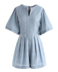 Almost Loveliness Embroidered Eyelet Playsuit in Dusty Blue