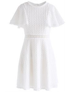 Crochet Me Grace Mini Robe en Blanc