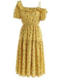 Robe à épaules dénudées Ananas Illusion en jaune