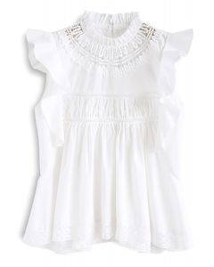Lovely And Ruffly White Top with Crochet Insert