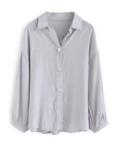 Live in A Comfy Basic Shirt en bleu poussière