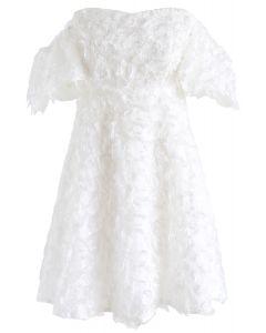 Show Me Feathers - Robe asymétrique à épaules dénudées - Blanc