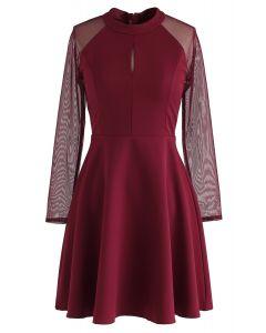 Robe en maille à manches élégantes, rouge