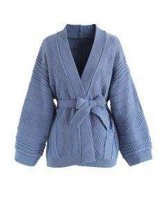 Cardigan tendrement chaud en maille torsadée bleu poudré