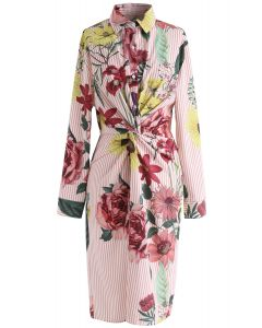 Ame Florale Robe chemisier à rayures torsadées