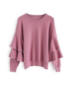 Pull en coton à manches bicolores Yes en rose