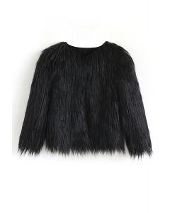Mon manteau en fausse fourrure noir pour enfants