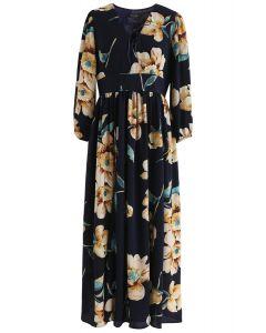 Sweet Things - Robe longue en chiffon à fleurs - Bleu marine