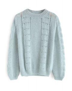 Idéal pour les trajets Fluffy Knit Sweater à la menthe