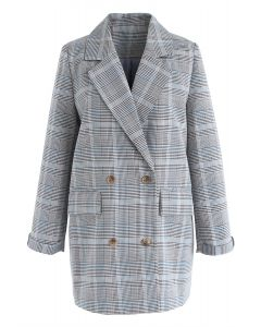 That's It Double-Breasted Check Blazer in Blue