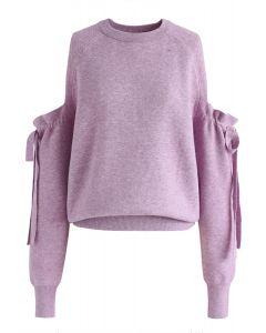 Pull en maille à épaules dénudées en violet