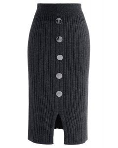Bouton le charme jupe crayon en maille côtelée en gris