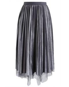 Mix and Match - Jupe plissée en maille de velours grise