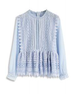 Say Yeah Crochet Top Peplum en Bleu