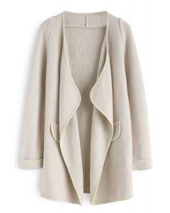 Manteau tricoté ouvert couleur lin
