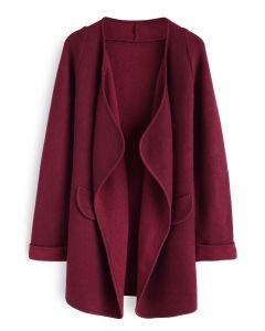 Manteau tricoté ouvert couleur bordeaux