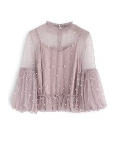 Pearly in Love - Top en maille peplum - Rose