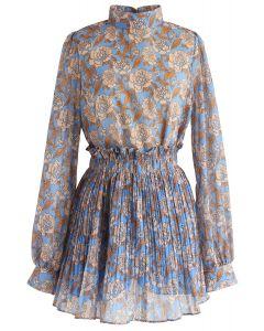 Brilliance Floral Top en mousseline de soie et jupe-short en bleu