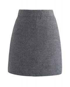 Jupe en laine mélangée avec bourgeon en gris
