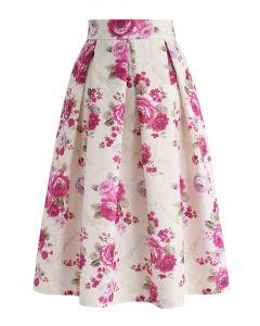 Jupe mi-longue plissée à fleurs vintage de couleur crème
