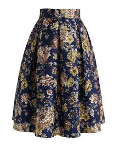 Jupe mi-longue plissée à fleurs vintage en bleu marine