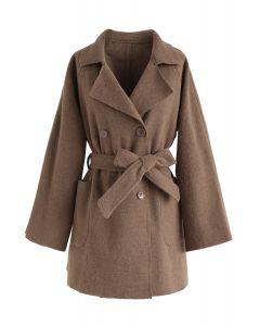 Manteau en mélange de laine à double boutonnage poivre et prêt, brun