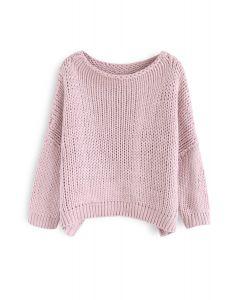 L'autre côté de chandail tricoté à la main Chunky en rose