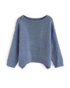 L'autre côté du pull tricoté à la main Chunky en bleu poussière