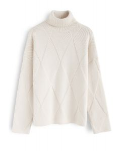 Bien préparé pour l'hiver pull en tricot à la crème