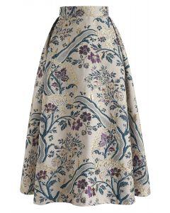 Jupe mi-longue brodée bouquet vintage