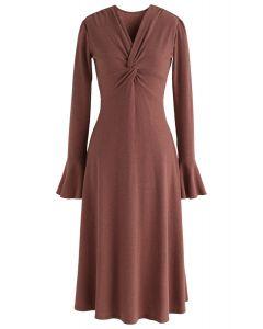 Robe en maille vive et torsadée en brun rouge