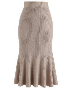 Montrez votre courbe jupe en tricot à ourlet évasé en Tan