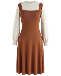 Fausse robe tricotée bicolore en imitation identité élégante au caramel