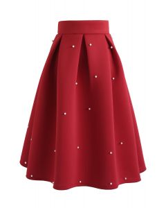 Perles Bliss Airy Jupe Midi Plissée Rouge